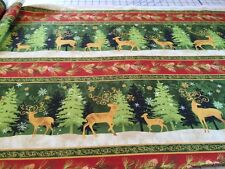 PEACE ON EARTH TREE & DEER Linear cotton quilters fabric per yard