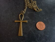 "Bronze Egyptian Ankh Cross Pendant Necklace 30"" Key of Life Birthday Gift # 205"