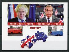 Chad 2018 CTO Brexit Nigel Farage Boris Johnson 2v M/S Buses Politicians Stamps