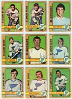 1972-73 O-Pee-Chee St. Louis Blues 10 Card Team Set G to EX (031220)