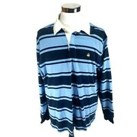 Brooks Brothers 346 Long Sleeve Blue Striped Polo Rugby Shirt Sz XL