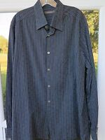 Ermenegildo Zegna Mens Long Sleeve All Cotton Black Striped Italian Casual Shirt