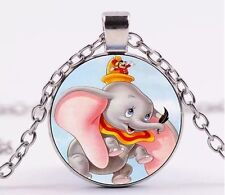 Disney Dumbo Cabochon Necklace Pendant Silver US Seller