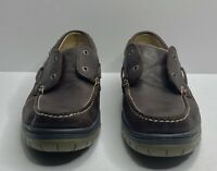 LL Bean Mens 9.5 M Leather Boat Dock Driving Shoes Casual Comfort Brown Lace Up