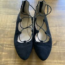 Cat & Jack Evita Black Suede Lace Up Ballet Flats-Size 4-GUC