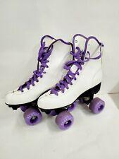 Seneca Rink Master Roller Skates Size 8 White Leather Purple Wheels 1980's