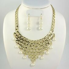 Statement Gold Chunky Pearl Collar Bib Necklace & Earrings By Rocks Boutique