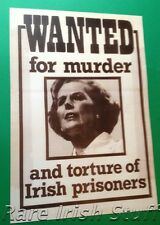 Wanted For Murder - Margaret Thatcher Hunger Striker 1981 Bobby Sands Print