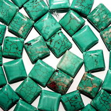 CHINESE TURQUOISE BEADS SQUARE DOUBLE STRAND 2 HOLE BEAD 10X10MM SD4