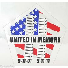 "UNITED IN MEMORY WTC 9-11 WORLD TRADE CENTER FLAG CAR WINDOW 5"" DECAL STICKER"