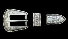 "Western Cowboy Tack Bridle/Halter (2) Silver Rope Border Buckles 3/4"" Leather"