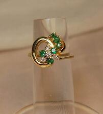 10K Gold green Tourmaline & Diamond 0.26ct Ring Sz.6