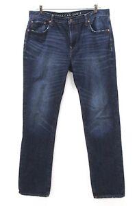 Hommes Délavé Foncé American Eagle Original Jeans Coupe Droite Jeans 36 x 36