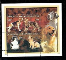 CHAD, 680, 1996 250FR DOGS AND CATS, S/S OF 4, MNH (ID4394)