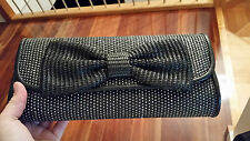 $79.95 REVIEW Black/White Bow chain Strap PURSE CLUTCH shoulder BAG 30X14X5CM