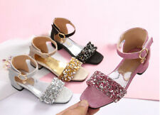US 9-5 GIRLS CASUAL SEQUINS GLITTER PRINCESS PARTY DRESS SANDAL LOW HEELS SHOES