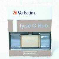 VERBATIM USB C to 2x USB A 3.1 Dual Port Hub Adapter Splitter Macbook 65290 NEW