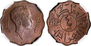 IRAK , 4 FILS 1943I KING FAISAL 2ND - NGC MS 64 BN  , RAREK