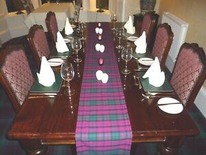 LINDSAY TARTAN  TABLE RUNNER. 4, 6 & 12 ft (122, 182 & 365 cm) Made in Scotland