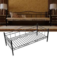 90x200 cm Schlafzimmerbett Metallbett Tagesbett Einzelbett Bettgestell Schwarz