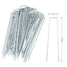 More details for 100 pack galvanised u pins ground garden membrane fabric hooks pegs staples