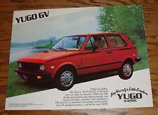 Original 1988 Yugo GV Sales Sheet Brochure 88