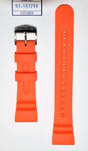 Original Citizen Promaster Aqualand JV0020-21F Orange Rubber Watch Band Strap