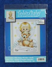 Cross Stitch Kit Angel With Bear Baby Birth Announcement Record Sampler Kit