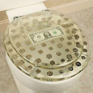 RESIN TOILET SEAT BIG MONEY DOLLAR, COINS, STANDARD ROUND CHROME HINGE