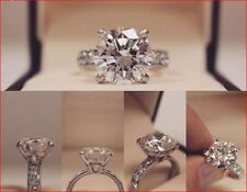 3.25Ct White Moissanite Diamond Engagement Wedding Ring In Solid 14K White Gold