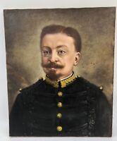 Superbe Huile toile peinture tableau PORTRAIT D'UN MILITAIRE XIXe déb 1900 19TH