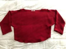 Vtg ZORAN Foxy Boxy Red LAGEN LOOK Silk CROPPED 3/4 Sleeved Blouse TOP Vguc O/S
