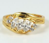 Women's 24 Carat Gold plated Cubic Zircon Ring Jewellery UK Size L