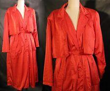 Hugo of London Raincoat Trench Jacket Racy Red Nylon Long Womens Made in Greece