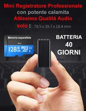 Micro registratore vocale spia lunga durata autonomia 8gb 128gb potente calamita