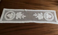VINTAGE CREAM COTTON LACE TYPE  Runner Cloth 38X11 Inches