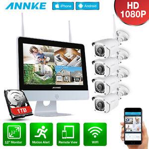 ANNKE Wireless 8CH H.264+NVR HD 1080P CCTV IP Camera Home Surveillance System UK