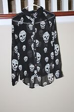 Womens BLACK Blouse Size Large  SKULL BONES Print punk gothic mesh Sheer Top