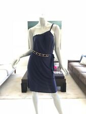 NWT T-BAGS NAVY BLUE SLEEVELESS ONE SHOULDER CHAIN BELT DRESS SIZE S