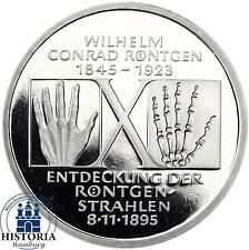 BRD 10 DM Wilhelm Conrad Röntgen 1995 Silber Spiegelglanz Münze in Münzkapsel
