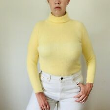 Vintage Yellow Angora Sweater Turtleneck Size Medium