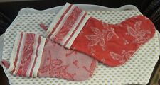 Charming Christmas Stocking Pair (2) French Country Shabby Chic Red