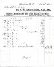 Letterhead, Horse Shoeing Interfering & Over-Reaching Horses, Providence RI 1879