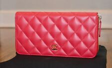 NEW CHANEL CLASSIC QUILTED LAMBSKIN LEATHER GUSSET FLAP WALLET CLUTCH