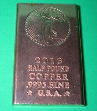 "/""Eagle Head/"" Half Pound .999 COPPER fine bar 2013 design not minted Limted /&Rare"