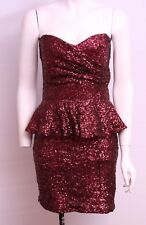 New TK Maxx Deep Red Sequin Party Cocktail Dress UK 14 RRP £34.99