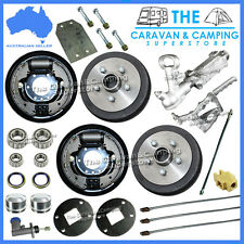 "9"" Hydraulic Drum Trailer Brake Kit Inc Coupling & Fitting Kit. Caravan, Boat"
