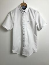 Fred Perry White Cotton Short Sleeve Button Up Shirt, XS, VGC