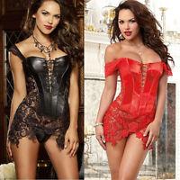 Plus Size S-6XL Gothic Ladies Sexy Faux Leather Overbust Corset Lace Dress Black