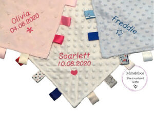 Personalised Taggy Blanket Comforter New Baby Shower Boy Girl Gift Embroidered